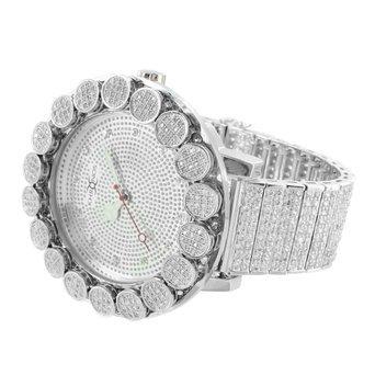 Khronos Real Diamond Watch Iced Tray Band Flower 1 Row Bezel Mens Unique - Watch Diamond Row