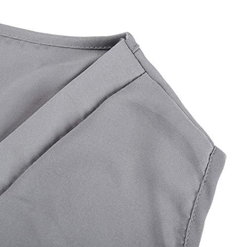 paules Tops Manches Et Manche Mode Irrgulier Elgante Tshirt Haut Confortable Femme Basic Mousseline Casual Shirt Uni Cou sans Nues Tee Vetement V Grau rqxC6rz5w