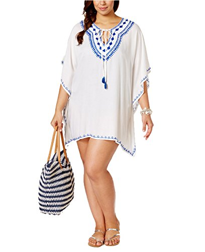 e795d5dda2394 Raviya Women's Plus Size Embroidered Peasant Tunic Cover-Up (1X, White/Navy)