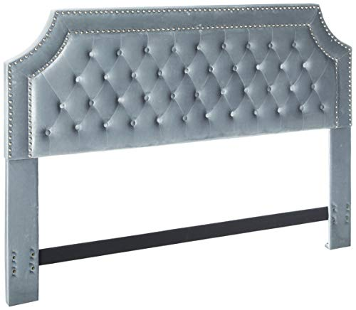 Iconic Home FHB9011-AN Chava Headboard Velvet Upholstered Button Tufted Double Row Silver Nailhead Trim Modern Transitional, King, Gray