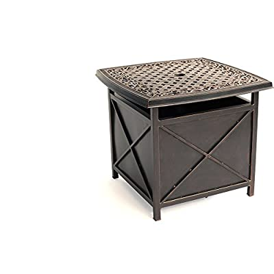 Hanover TRADUMBTBL Traditions Aluminum Rust-Free Patio Umbrella Base, Oil-Rubbed Bronze Outdoor Furniture - Convenient for holding beverages and snacks as you lounge outdoors 26 x 26 in. table-top features a decorative lattice design Doubles as an umbrella stand without needing to purchase a separate base - patio-tables, patio-furniture, patio - 41vs1utna3L. SS400  -