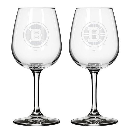 NHL Boston Bruins Wine Glass, 12-ounce, - Glass Bruins