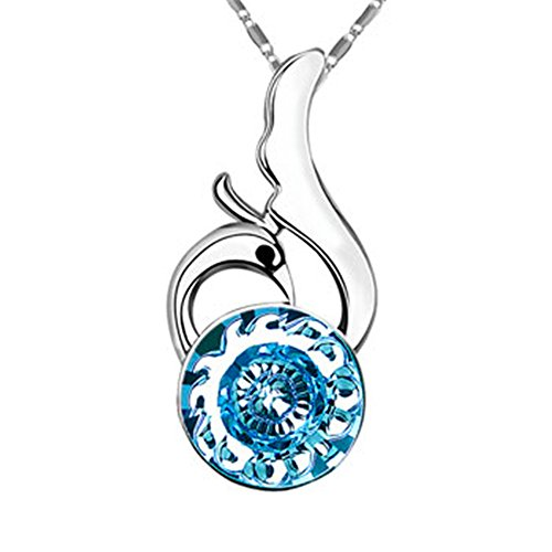 - ZIOZIA Phoenix Necklaces for Women Made with Swarovski Crystal Blue Pendant Lighting Kids Jewelry for Girls Gifts for Girlfriend and Mom