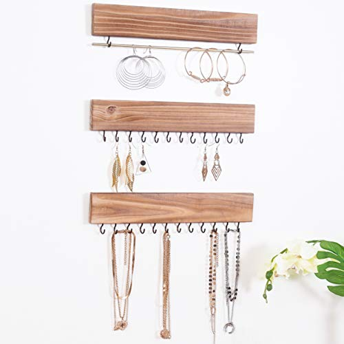 RHF Rustic Jewelry Organizers, Necklace Holder, Wall Mounted Storage Rack, Wood & Metal Jewelry Organizers,Bracelets Hook Racks,Earring Bar,Hanging Jewelry Organizer Display Home Decor, Set of 3
