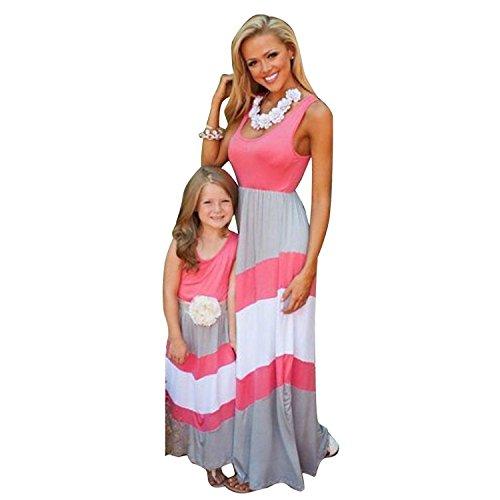Minetom Rayas Familia Bohemia Vestido Madre E Hija Padres E Hijos A-La Falda Sin Mangas Cuello Redondo Vestido Maxi Dress Verano Elegante Rosa