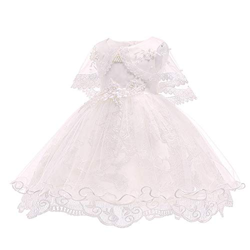 LZH Toddler Baby Girls Dress Lace Princess Baptism Cocktail Party Flower Bowknot