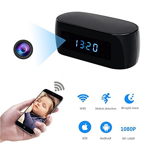 Hidden Camera Clock WIFI Spy Camera HD 1080P Wireless Nanny Cam for Home Security Surveillance Camcorder Mini Video Recorder with Motion Detection Alarm Night Vision Remote View by YCTONG