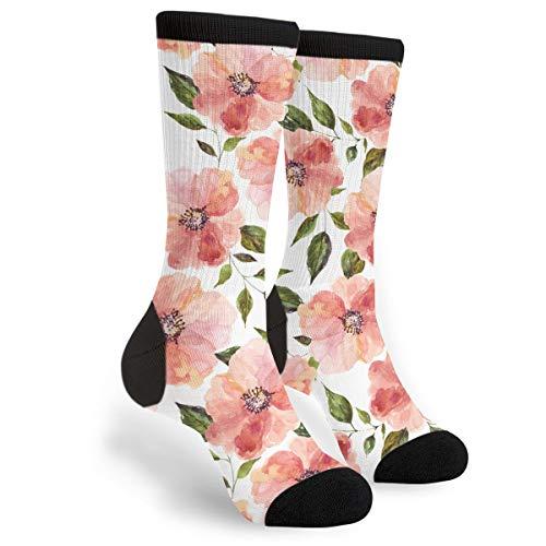 KSSChr Men Women Classic Crew Socks Floral Peach Rhapsody Classics Personalized Socks Sport Athletic Stockings