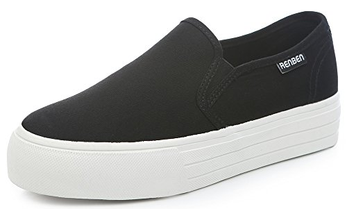 Top IDIFU Comfy Black Womens Canvas Platform Closed Shoes Round Toe Slip Low Sneakers On qqSwvr6T