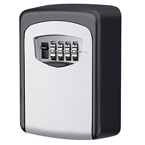 KeeKit Key Lock Box, Key Storage Lock Box, 4-Digit Combination Key Box, Wall Mounted Key Lock, Resettable Code, Weatherproof Security Key Holder for Outdoor and Indoor, Holds up to 5 Keys by KeeKit
