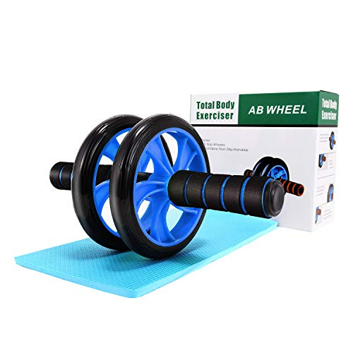 Wesoke Ab Wheel Roller, Professional Abdominal Fitness Equipment with Soft Knee Pad for Home Gym Office Boxing Exercise, Ab Crunch Machine with Anti-Slip Handles for Men Women Beginners (Blue)