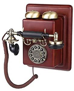 Metal madera teléfono antiguo plateado cobre