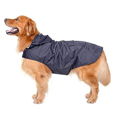 Bwiv Impermeable para Perros Grandes con Capucha Ajustable Ultra-Light Transpirable Impermeable para Mascotas Perros con Banda Reflectante Talla 3XL-5XL ...