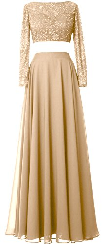 Gown 2 Prom Gorgeous Lace Formal Chiffon Champagner MACloth Piece Long Sleeve Evening Dress PgwqwUp