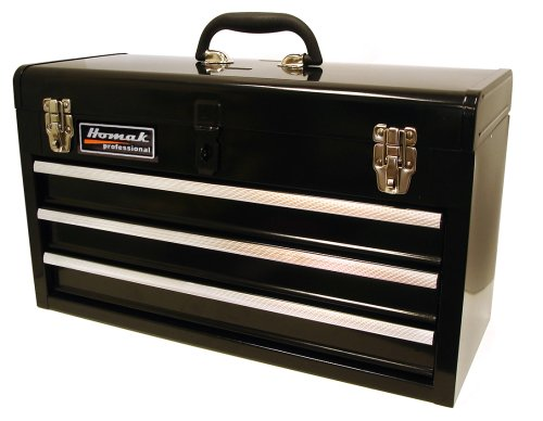 Homak 20-Inch 3-Drawer Ball-Bearing Toolbox/Chest, Black, BK01032101