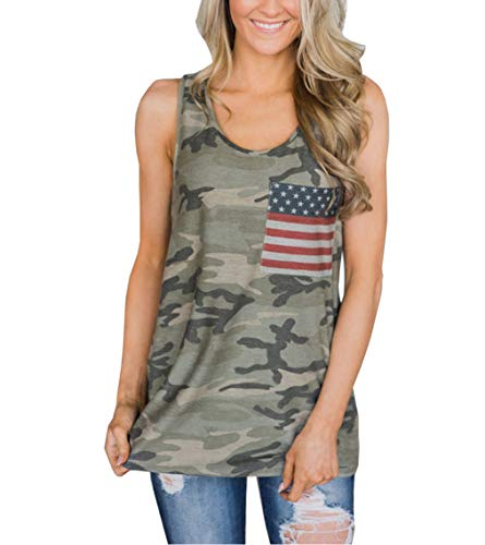 Camo Tank Top with Stripes
