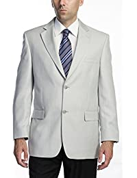 Men's Single Breasted Two Button Silver Grey Modern Fit Suit Blazer/Sport Coat