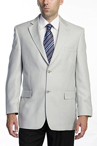 [Men's Single Breasted Two Button Silver Gray Sport Coat 40R Silver grey] (Linen Single Breasted Sport Coat)