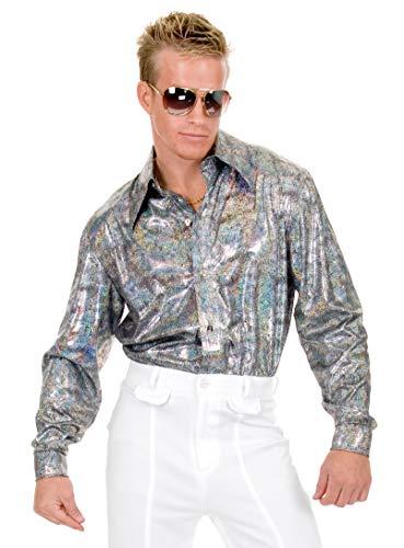 (Charades Men's Glitter Hologram Disco Shirt, Black/Silver,)