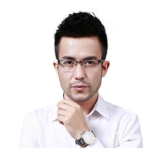 MINCL/Photocromic Lens Transition Sunglasses Business Frames Reading Glasses (blue-photochromatic, - Transition Sunglasses