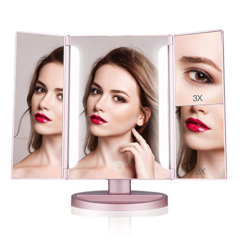 Easehold Lighted Makeup Mirror, 2X 3X Magnifiers Vanity Mirror with Upgraded Eye-Caring Lights Tri-Fold 180 Degree Adjustable Countertop Cosmetic Bathroom Mirror(Rose Gold) ()