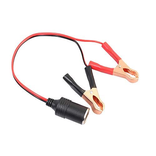 Huangou Car Battery Clips,12V Car Battery Pump Clip-On Cigarette Lighter Battery Alligator Clip Connector (35cm, Black) ()