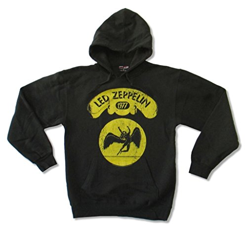 Led Zeppelin Yellow Swan Song 1977 Logo Black Pull Over Sweatshirt Hoodie - Led Sweatshirt