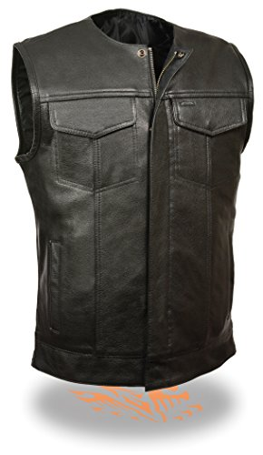 SOA Men's Basic Leather Motorcycle Vest Zipper & Snap Closure w/2 Inside Gun Pockets & Single Panel Back (Large, Collarless)