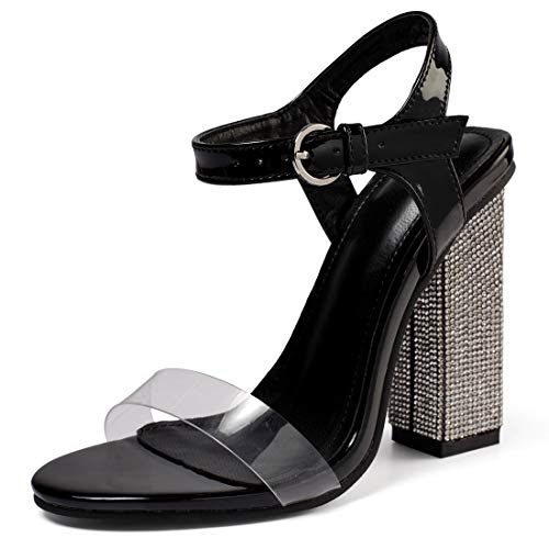 Women's High Heel Sandals Ankle Strap Block Clear Chunky Heels Holidays Party Shoes - 8 Black Crystal