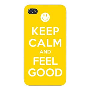 Apple Iphone Custom Case 5c White Plastic Snap on - Keep Calm and Feel Good Smiley Face