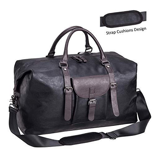 (Oversized Leather Travel Duffel Bag Black,Weekender Overnight Bag Waterproof Leather Large Carry On Bag Travel Tote Duffel Bag for Men or Women-Black)