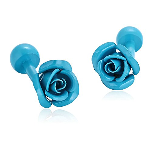 Gnzoe Stainless Steel Men's Blue Fashion Elegant Roses Flowers Gift Shirt Cufflinks with Gift - Card And Credit Co Tiffany