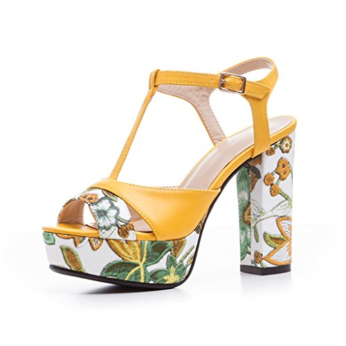 Women's High Heeled Thick Heel T-Strap Platform Embroidered Wedge Open-toe Sandals(4.5,yellow) (T-strap Mini Platform)