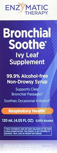 Enzymatic Therapy Bronchial Soothe 99.9% Alcohol Free Non Drowsy Syrup, Ivy Leaf, 120 ml, 4.05 Fluid Ounce by Enzymatic Therapy