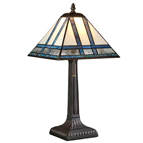 J Devlin Lam 380 TB Mission Stained Glass Table Lamp Ivory Blue Purple Green Opal Small Accent Light for Desk or ()