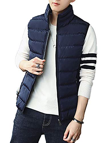 Vest Down Waistcoat - Toomett Men's Fall and Winter Sports Cotton Vest Lightweight Packable Down Waistcoat #1718,Blue, US 2XL(Tag 4XL)