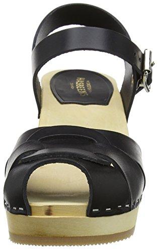 High Open black Women's Hasbeens Black Toe Peep Sandals Swedish qFOpw6z6n