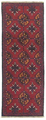 Ecarpetgallery Hand-knotted Baluch Red 2' x 6' 100% Wool Traditional runner
