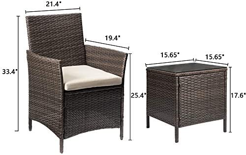Greesum GS-3RCS8BG 3 Pieces Outdoor Patio Furniture Sets, Brown and Beige