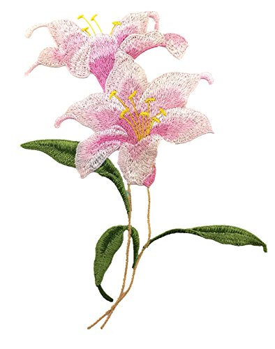 YABINA 1PC 9.43x 7.28 Inch 3D Embroidery Lily Flower Iron on Sew on Patches Embroidery Applique Patches for Jeans, Neckline Collar Bust Dress, Clothing, Bags (Pink) ()