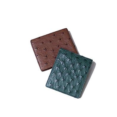 c385a9a9f990 Amazon | メンズ 一枚革 オーストリッチ レザー 二つ折り財布 ブラウン | F-LIFE | 財布