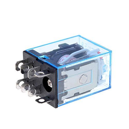 AC 220V Bobina Rel/é de Potencia LY2NJ DPDT 8 Pin PTF08A JQX-13F con Base de z/ócalo electr/ónico Micro Mini Electromagnetic Module Switch Negro