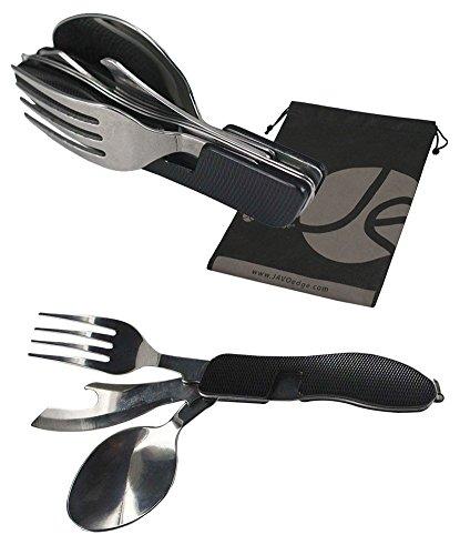 JAVOedge Black Stainless Steel 3 in 1 Folding Utensil Set with Fork, Knife, Spoon for Lunch / Camping + Bonus Bag