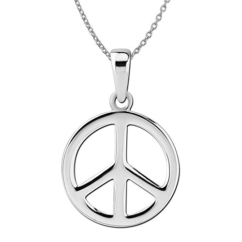 (Sterling Silver Small Peace Sign Pendant Necklace, 18