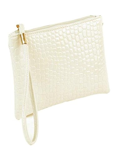 Women ✦jiameng Bag Leather Woman Clutch Shoulder Crocodile Coin Handbag Bags White 76vxWqwB
