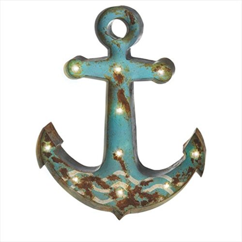 Pack of 2 Distressed Teal Anchor Marquee Lighted Wall Decor 28