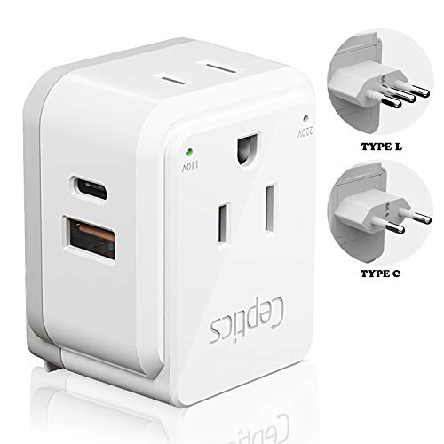 Italy, Chile, Rome Travel Plug Adapter Set by Ceptics, Safe Dual USB & USB-C 3.1A - 2 USA Socket - Compact & Powerful - Use in Lybia, Tunisia, Uruguay - Includes Type C, Type L Swadapt Attachments