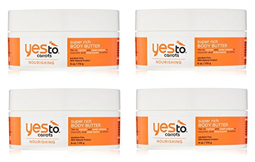 Yes To Carrots Nourishing Super Rich Body Butter 6 oz (Pack of 4) + FREE LA Cross Blemish Remover 74851