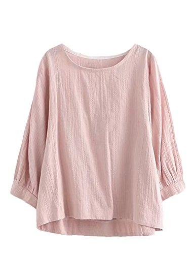 Mordenmiss Women's Hi Low Hem Half Sleeve Blouses Tops (2XL Pink)
