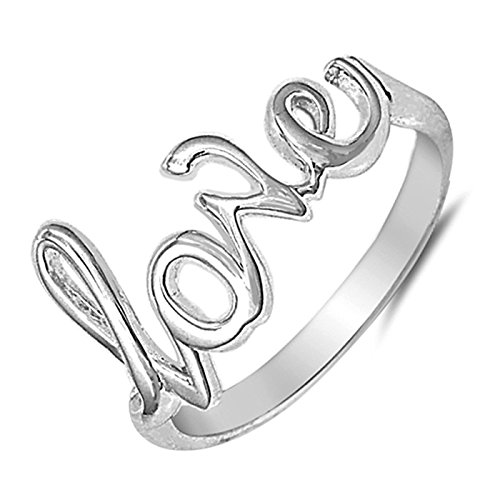 Cursive Love Promise Ring - Love Script Letter Ring Promise Couples Gift for Her Girlfriend Womens Sterling Silver Ring Size 8